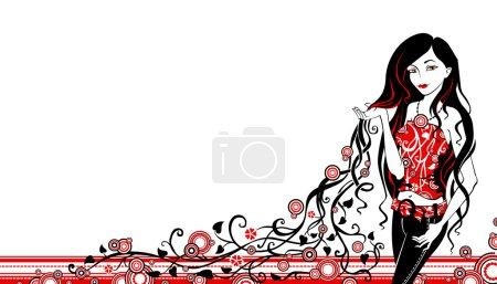 Illustration pour Illustration vectorielle noir et rouge . - image libre de droit