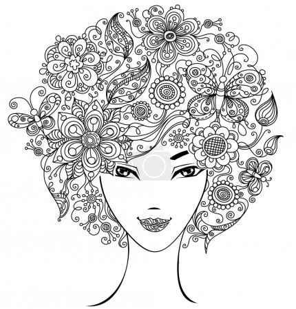 Woman with flowers and butterflies in hair.
