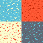 Set of seamless birds patterns