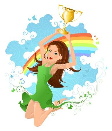 Woman raising the winning trophy