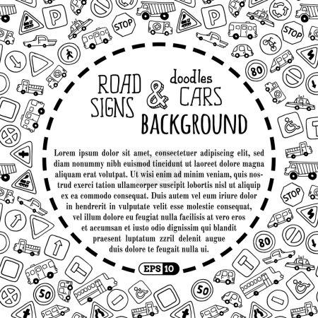 Illustration pour Arrière-plan enfant noir et blanc. Il y a un espace de copie pour le texte au centre . - image libre de droit
