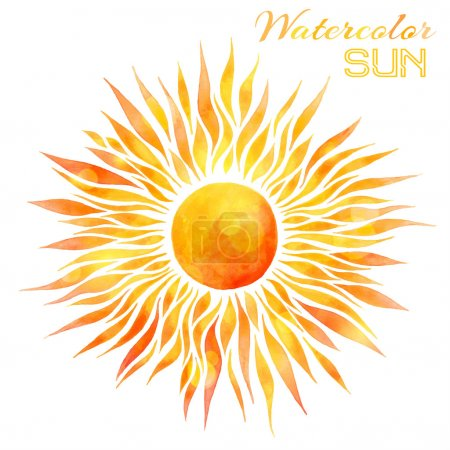 Illustration for Hand-drawn bright watercolor sun isolated on white background. - Royalty Free Image
