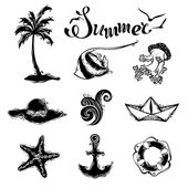 Vector set of summer and travel icons