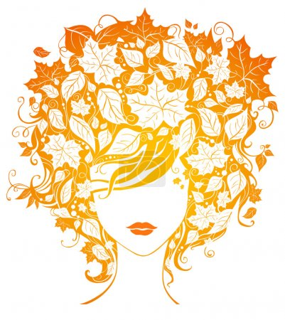 Woman with leaves in hair