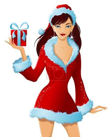 Illustration pour Mme Père Noël avec cadeau de Noël à droite isolé sur fond blanc . - image libre de droit
