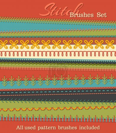 Vector set of high detailed stitch brushes.