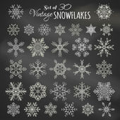Vector Set of 30 Chalk Snowflakes