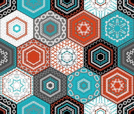 Illustration for Seamless pattern. Retro ethnic design. Vector high detailed stitches. - Royalty Free Image