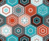 """Постер, картина, фотообои """"Coloured embroidered hexagons background. """""""