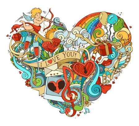 Illustration pour Illustration vectorielle pour votre fond romantique. Cupidon, cadeau, ballons, anneau, serrure et clé, tourbillons et rubans, notes de musique et autres symboles . - image libre de droit