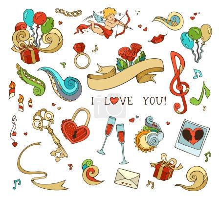 Illustration pour Cupide, ballons, notes de musique, nuages, arc-en-ciel, soleil, clé et serrure, chaîne, baiser, lettre, ruban, anneau, verre de vin, roses, bougies, tourbillons. - image libre de droit
