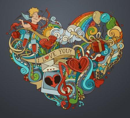 Illustration pour Modèle d'affiche. Cupidon, cadeau, ballons, anneau, serrure et clé, tourbillons et rubans, lèvres, notes de musique et autres symboles . - image libre de droit