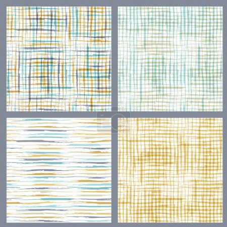 Illustration for Hand-drawn vertical, horizontal and checkered brush strokes on white background. Boundless background can be used for web page backgrounds and wallpapers. - Royalty Free Image