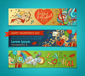 Cupid hearts music notes balloons rainbow ribbon roses hand-written lettering Vector cartoon romantic Valentine's banners There is place for your text