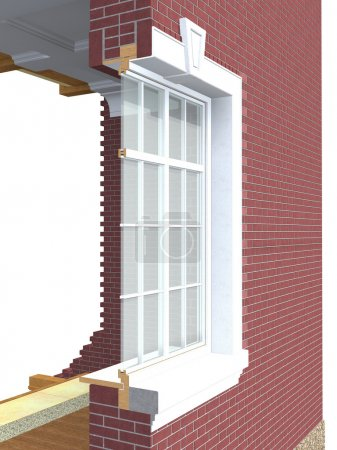 Cross section of wooden window with double glazing...