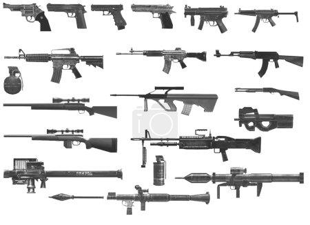 Photo pour Lmg, Assaut, Fusils d'assaut, Noirs, Autres, Eps10, Grenade, fusils, couteaux, gros, LMG, machine, pistolet, Set, Sillhouettes, Smg, Sniper, Fusils de sniper, Sous, Sous mitrailleuses, Divers, Armes, Blanc. ak 47 ak 74 - image libre de droit