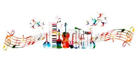 Illustration pour Instruments de musique colorés fond avec des colibris - image libre de droit