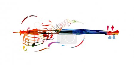 Illustration for Colorful violoncello with music notes - Royalty Free Image