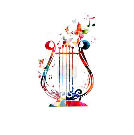 Illustration pour Conception de lyre colorée avec des papillons - image libre de droit