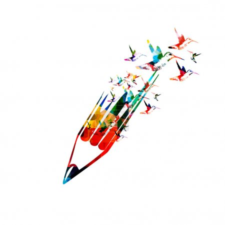 Illustration for Creative writing concept background with pencil and butterflies - Royalty Free Image