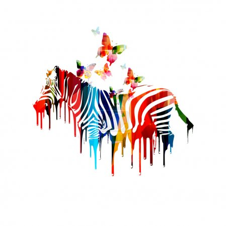 Illustration for Colorful vector zebra design with butterflies - Royalty Free Image