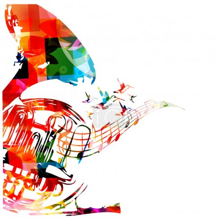 Illustration for Colorful french horn with hummingbirds - Royalty Free Image