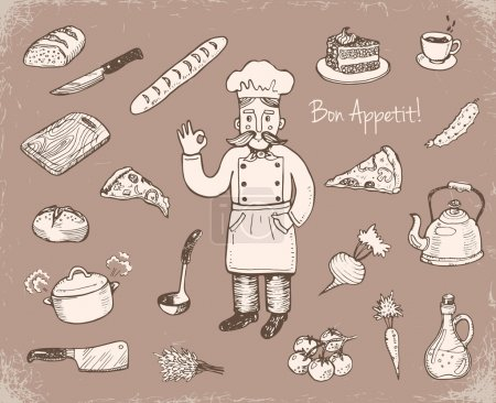 Hand drawn doodle cooking icons set.