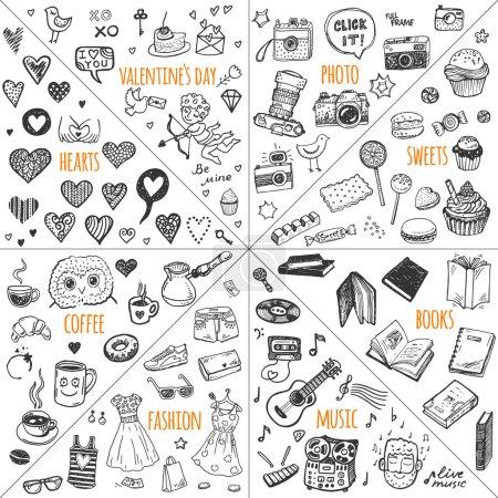 Photo pour Ensemble vectoriel d'éléments de conception Mega doodle. Illustrations dessinées à la main : photo, bonbons, livres, cœurs, Saint Valentin, musique, vêtements de mode, café . - image libre de droit