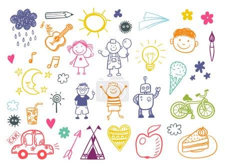 Illustration pour Ensemble de gribouillis pour enfants heureux avec jouets et outils, dessins pour enfants - image libre de droit
