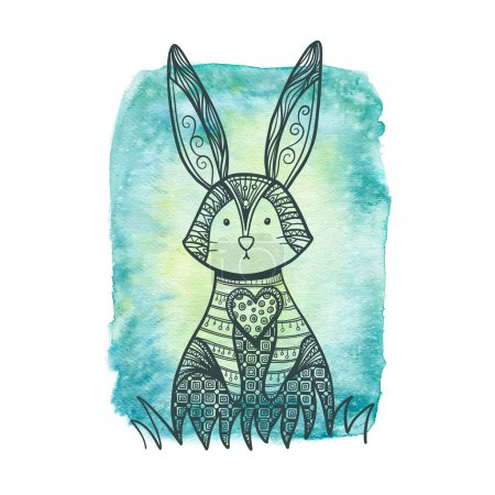 Drawing zentangle rabbit