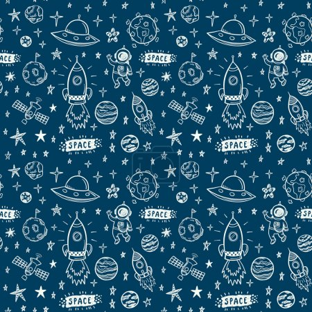 Illustration for Vector doodle space seamless pattern - Royalty Free Image