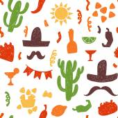 Seamless doodle vector pattern with mexican festive signs and symbols