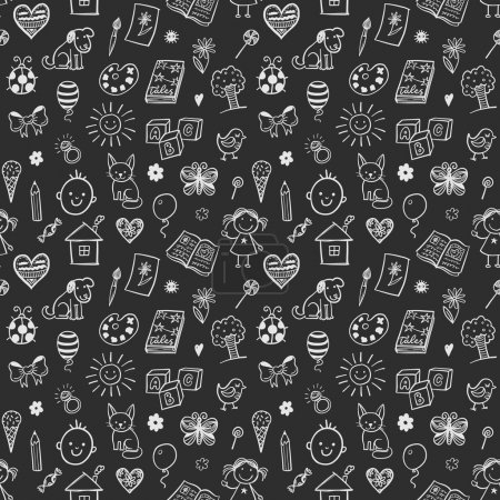 Illustration for Seamless pattern with doodles children drawings. Doodles chalkboard background - Royalty Free Image