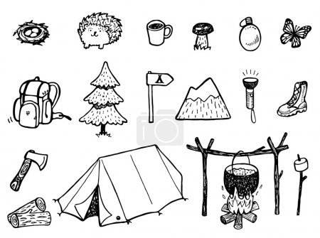 Illustration for Camping Doodles set - Vector - Royalty Free Image