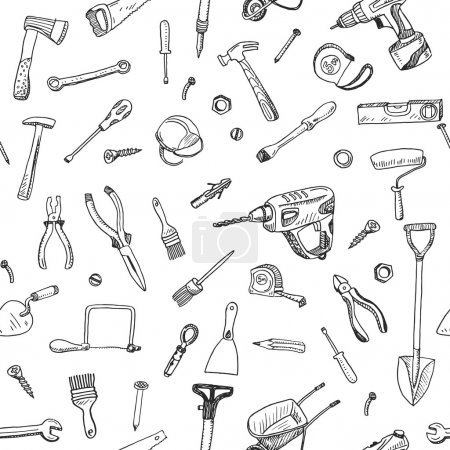 Illustration for Hand drawn seamless pattern of tools sign and symbol doodles elements. - Royalty Free Image