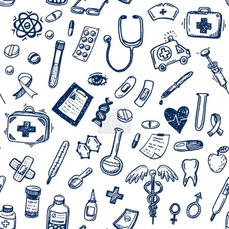 Illustration for Hand drawn seamless medicine and healthcare background - Royalty Free Image