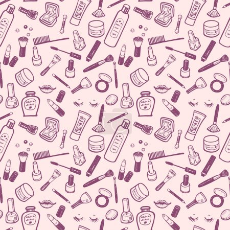 Hand drawn beauty and cosmetics items