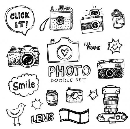 Illustration for Hand drawn vector illustration set of photography signs and symbol doodles elements. - Royalty Free Image