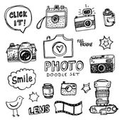 Hand drawn vector illustration set of photography signs and symbol doodles elements