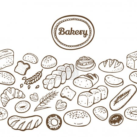 Hand drawn seamless bakery border.