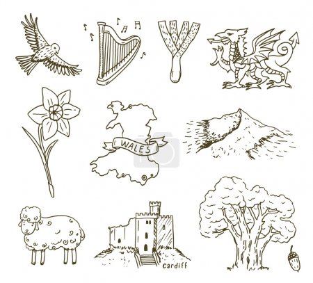 Hand drawn Wales symbols sketch set....