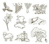 Hand drawn Wales symbols  set