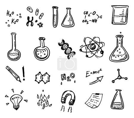 Photo pour Ensemble d'icônes de chimie et de science dessinées à la main . - image libre de droit