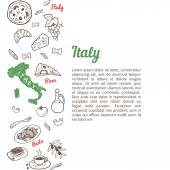 Vertical seamless background with hand drawn Italy food sketch icons set