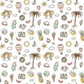 set of summer vacation doodles elements
