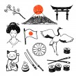 Постер, плакат: The set of elements of Japanese culture