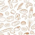Hand drawn bakery on white background. Seamless pa...