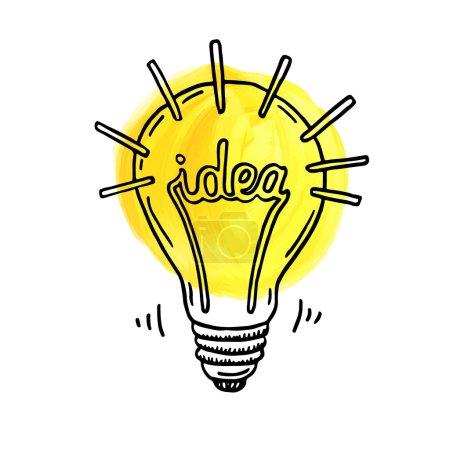 Illustration for Hand drawn creative idea lightbulb. - Royalty Free Image