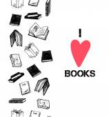 I love books hand drawn card seamless border