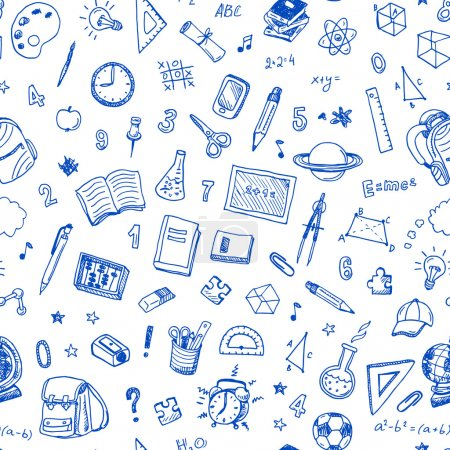 Hand drawn  pattern with school  elements.